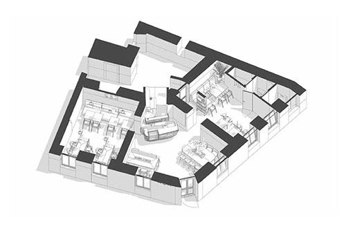 سه بعدی طراحی کافه