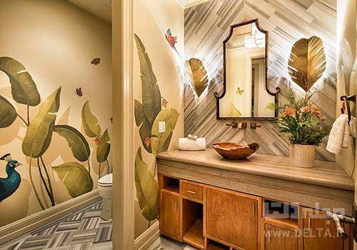 کاغذ دیواری طرح دار در سرویس بهداشتی