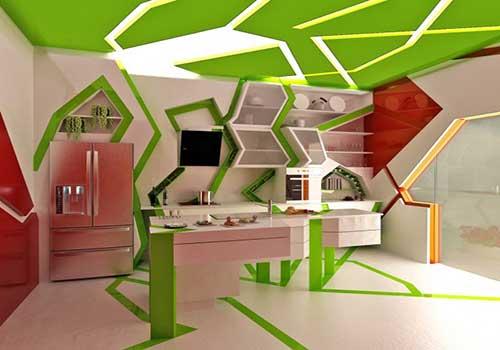 آشپزخانه کوبیسم سبز و سفید