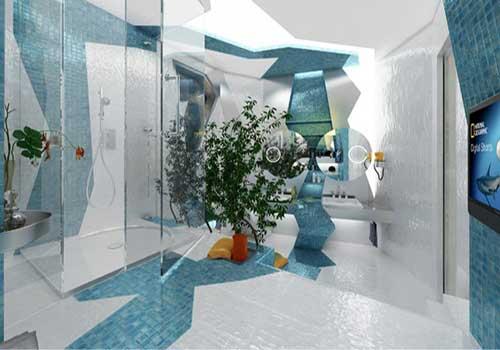 حمام سفید و آبی