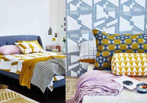 رنگ زرد و آبی در دکوراسیون اتاق خواب
