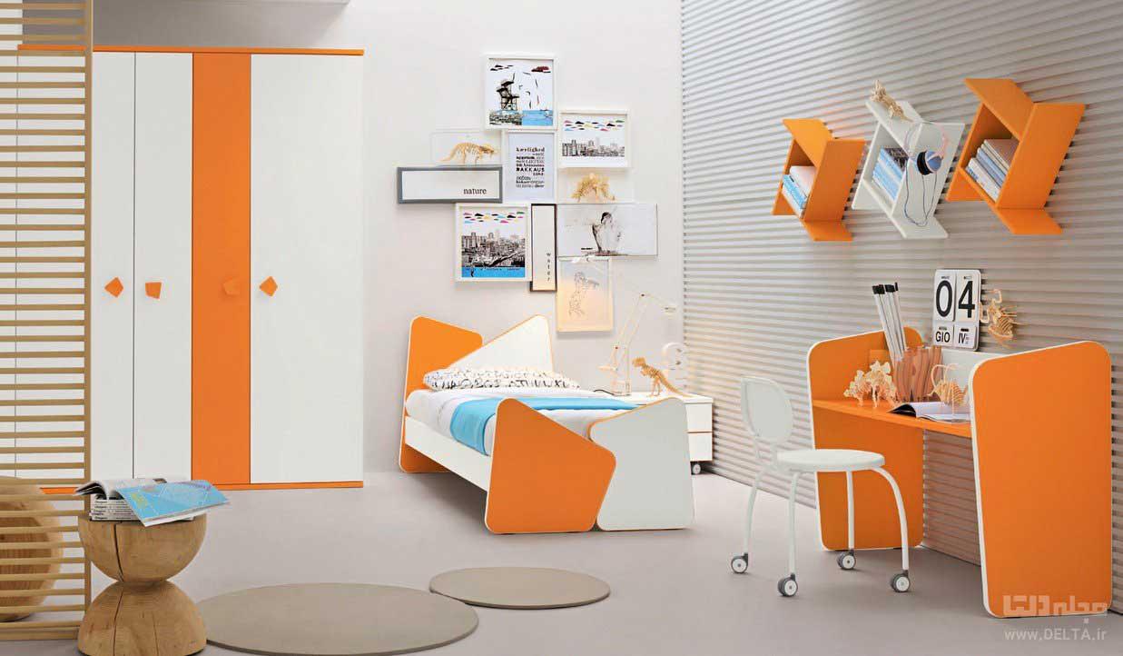 نارنجی و طوسی در دکوراسیون اتاق خواب دخترانه