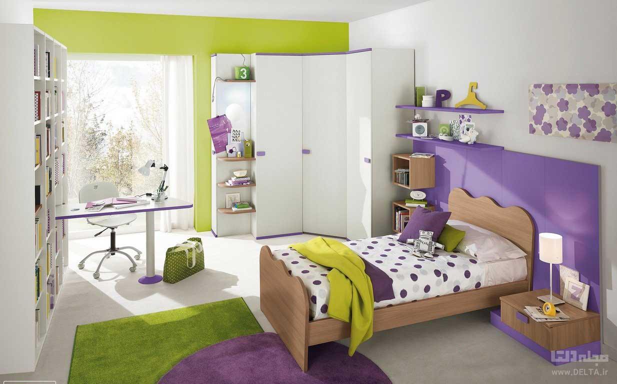 بنفش و سبز در دکوراسیون اتاق خواب دخترانه