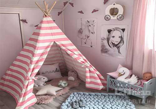 چیدمان اتاق کودک با چادر تزئینی