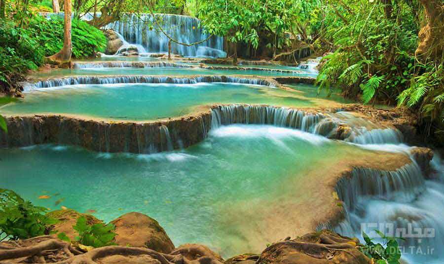 آبشار کوانک سی لائوس Kung Si Waterfall