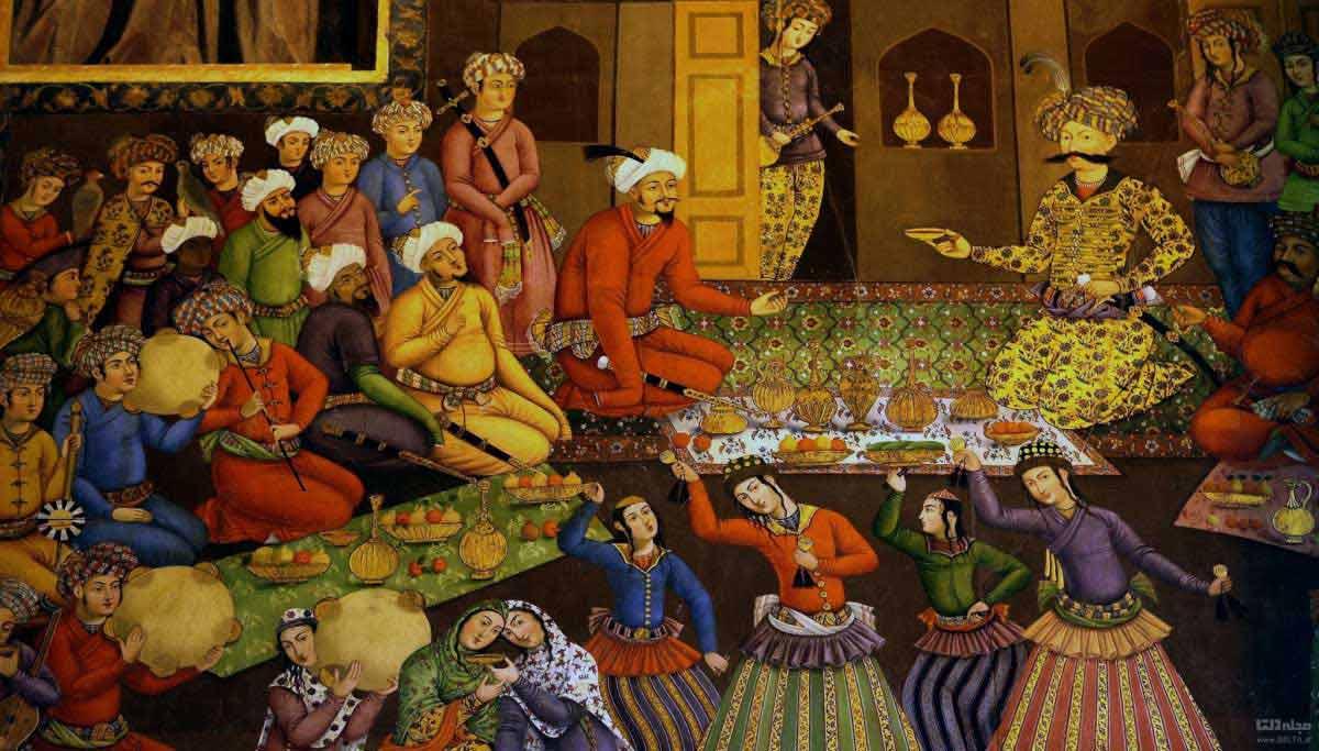 نقاشی های صفوی کاخ چهل ستون