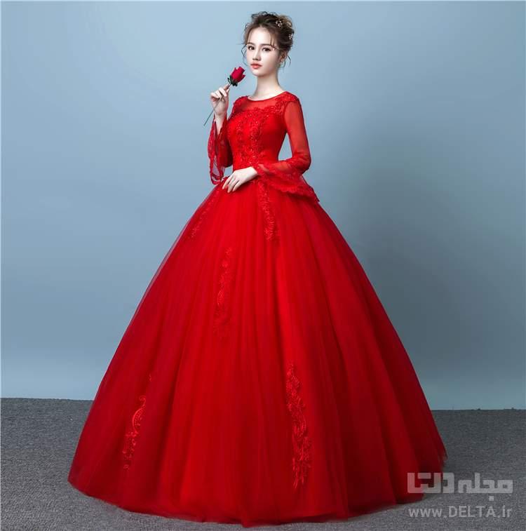لباس عروسی پفی قرمز