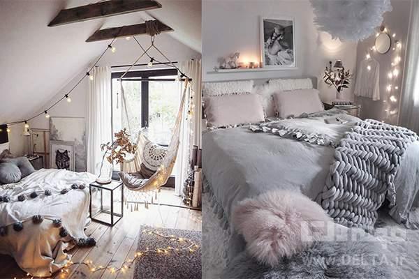 اتاق خواب طوسی صورتی
