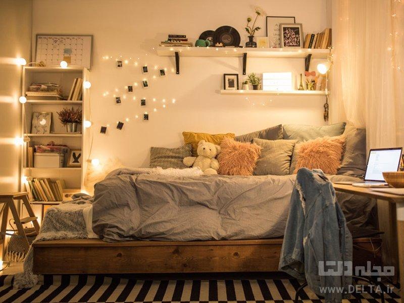 نورپردازی اتاق خواب با ریسه