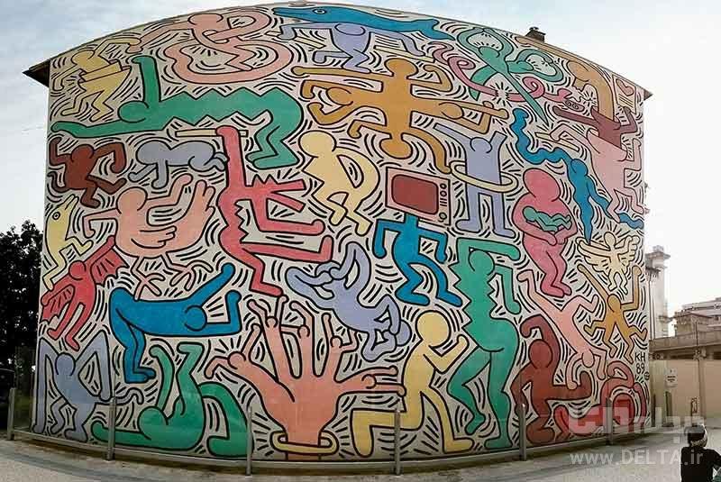 نقاشی دیواری کیت هرینگ جاذبههای پیزا