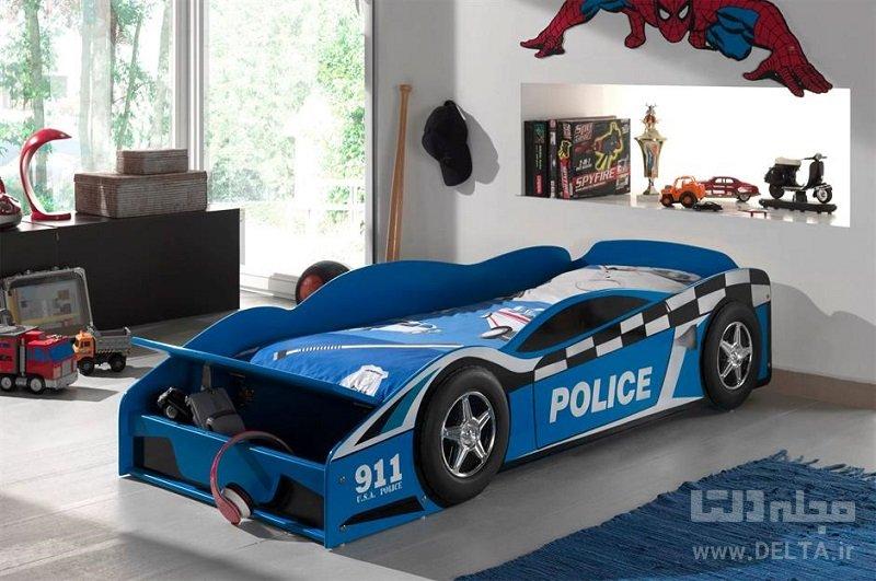 تخت خواب فانتزی کودک مدل ماشین پلیس
