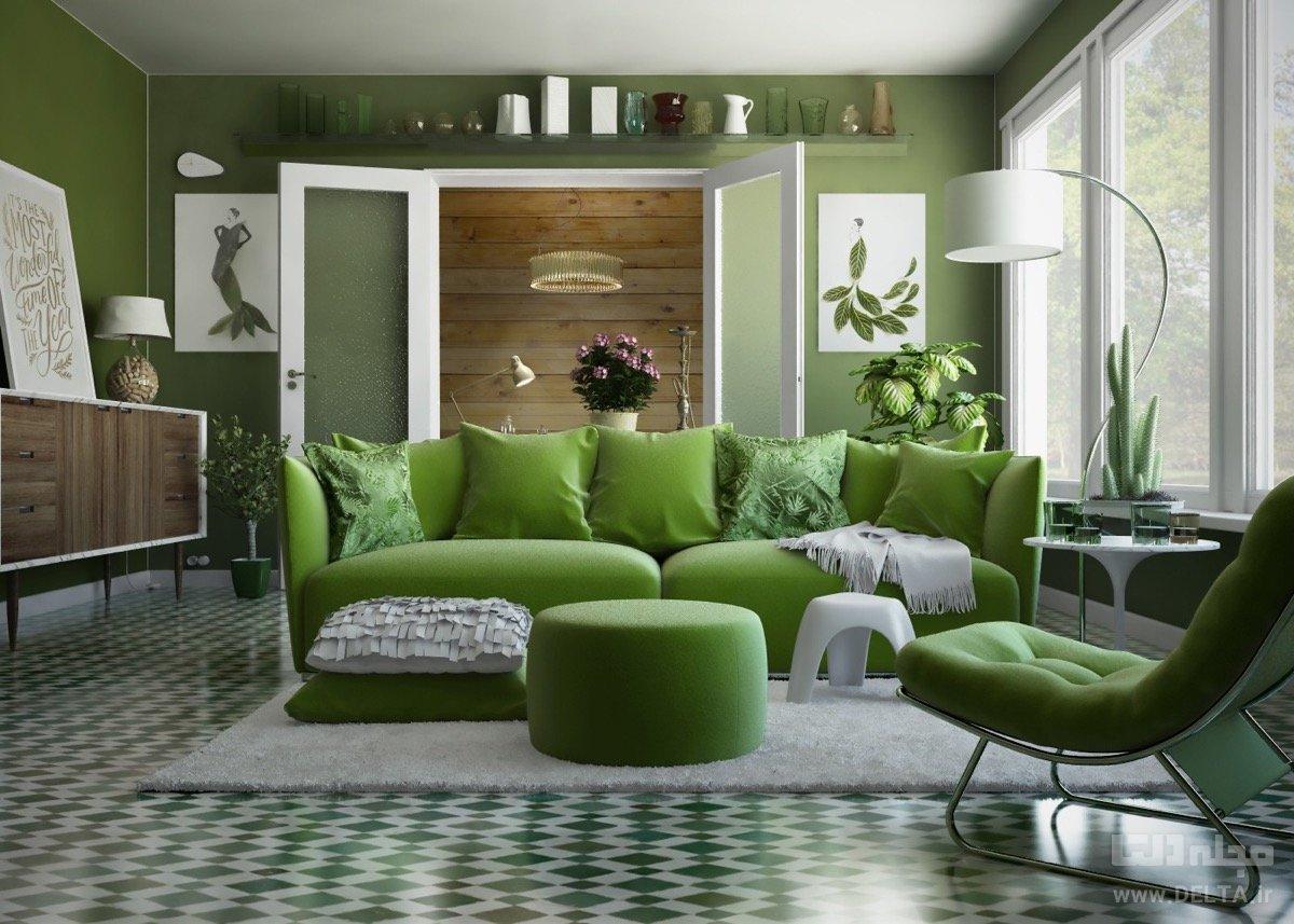 اتاق پذیرایی سبز رنگ