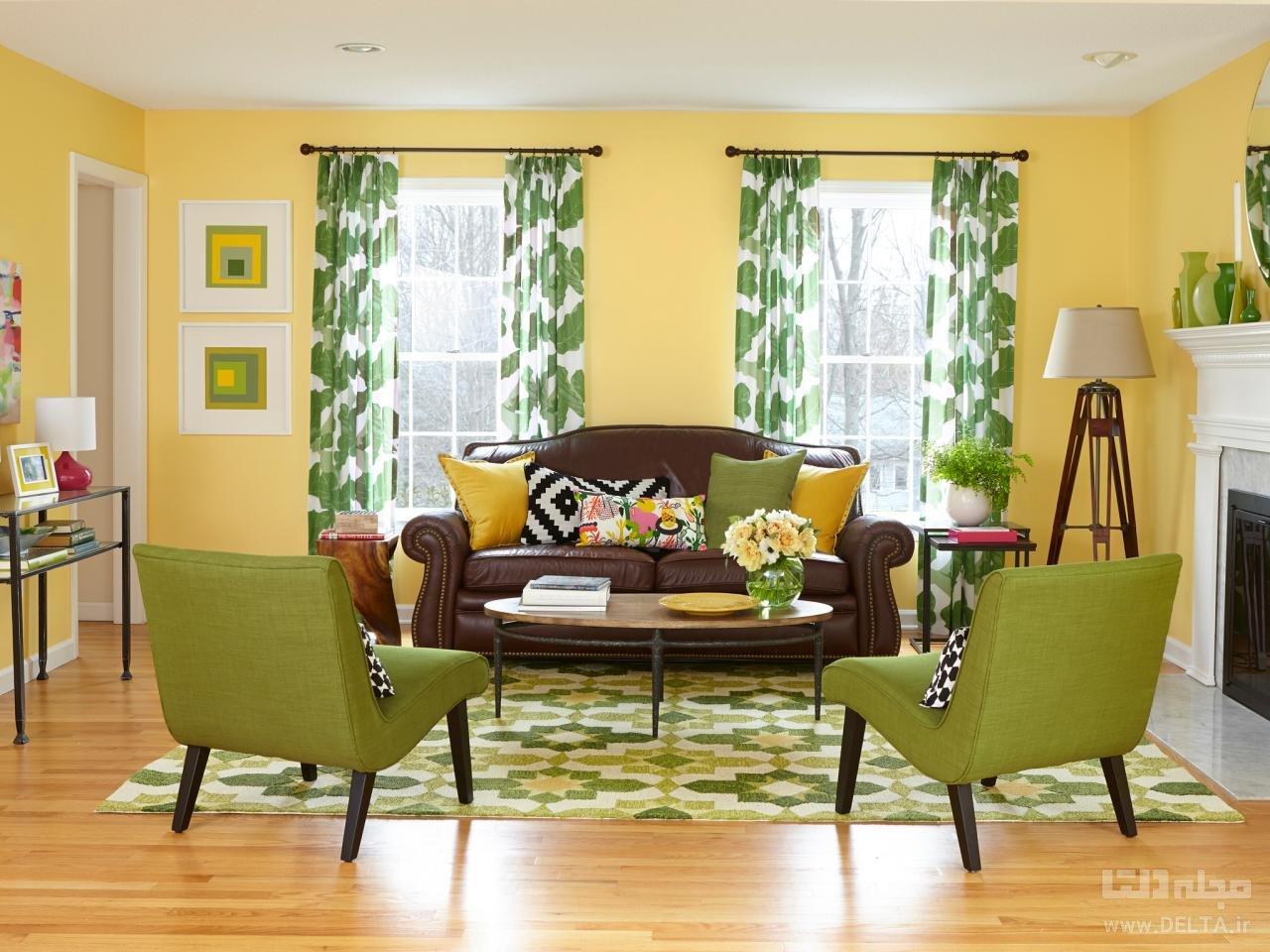 اتاق پذیرایی با تناژ زرد