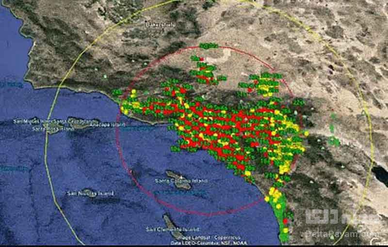 نقشه سیستم لرزهنگار اندروید در کالیفرنیا