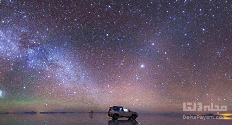 دریاچه نمک بولیوی در شب
