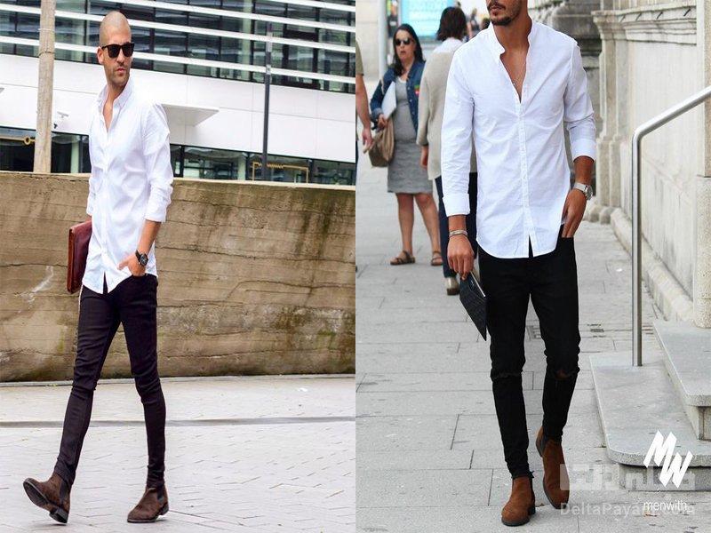 شلوار جین مشکی مردانه سفید
