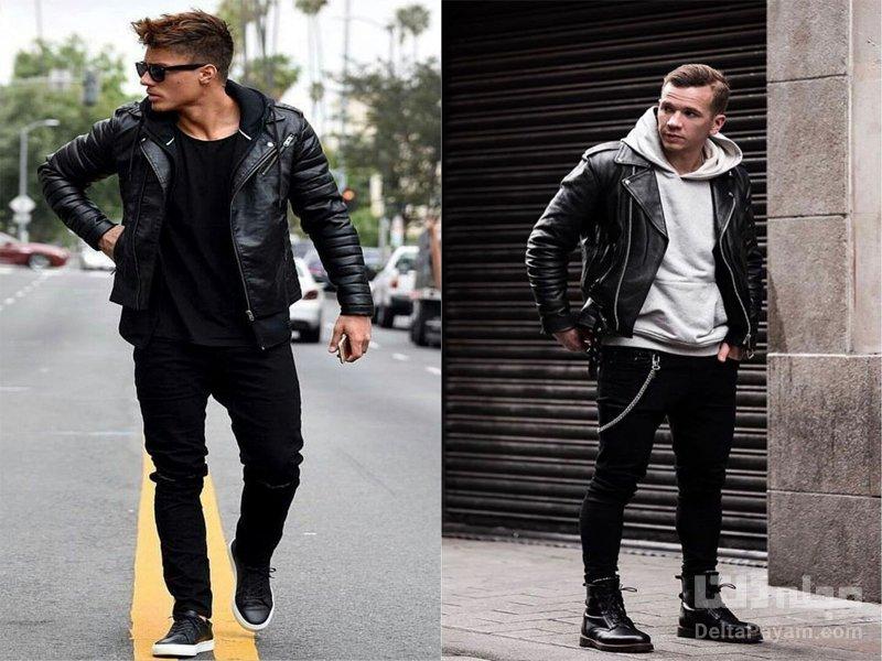 شلوار جین مشکی مردانه طوسی