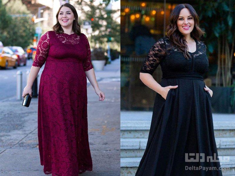 لباس مجلسی خانم های چاق آستین سه ربع