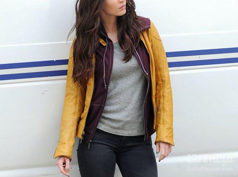 کت چرم زرد