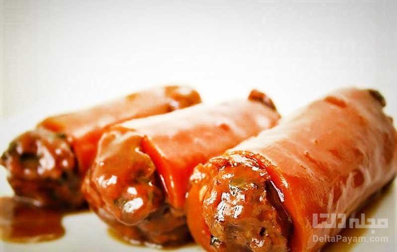 دلمه گوشت و دانه کاج در هویج