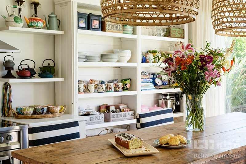 تزیین اپن آشپزخانه با گل و میوه