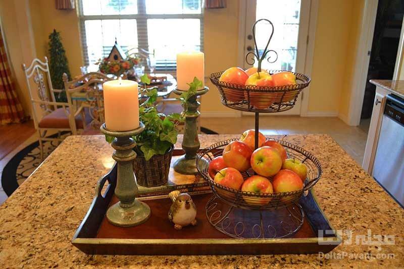تزیین اپن آشپزخانه با شمع