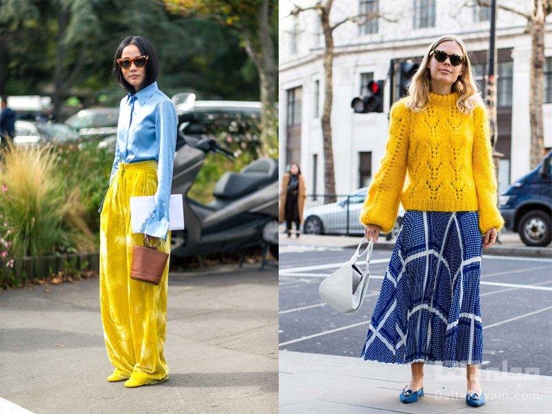 زرد را با چه لباسی ست کنیم آبی
