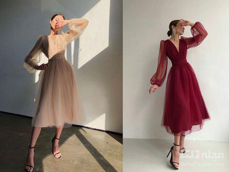 لباس مجلسی خانم های لاغر آستین پفی