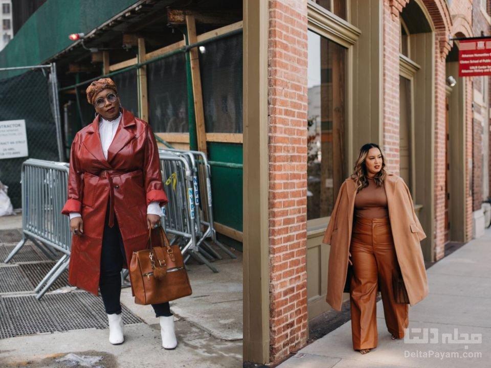 لباس پاییزی خانم های چاق بارانی