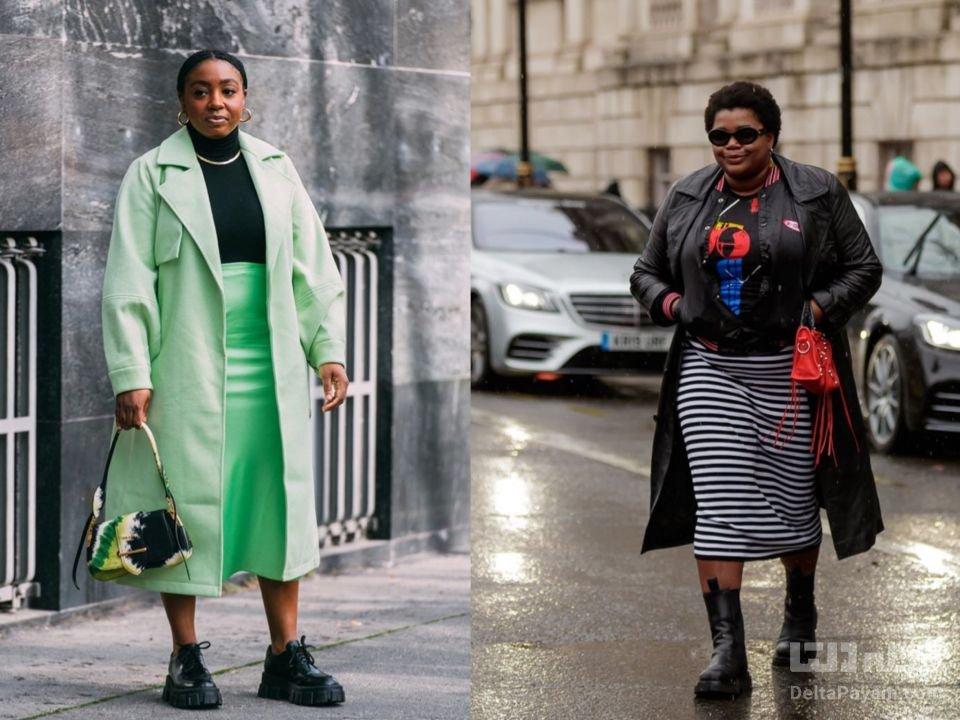 لباس پاییزی خانم های چاق دامن