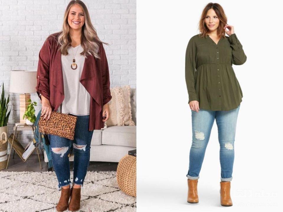 لباس پاییزی خانم های چاق نیم بوت