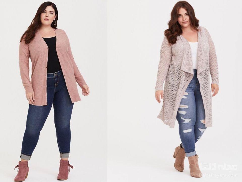 لباس پاییزی خانم های چاق ژاکت