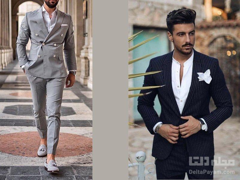 کت و شلوار راه راه مردانه پیراهن