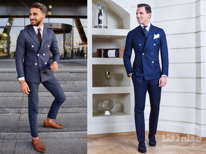 کت و شلوار راه راه مردانه کراوات