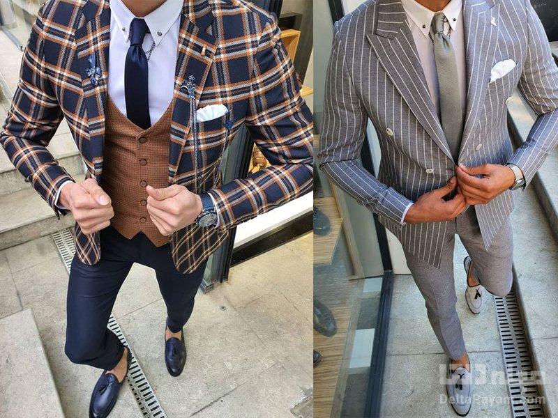 کت و شلوار طرح دار مردانه شلوار