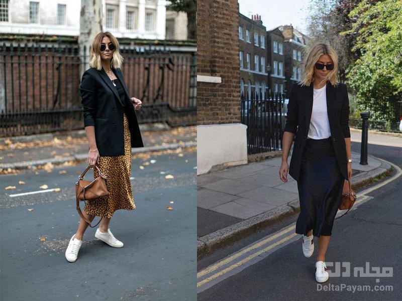 استایلی با کت تک زنانه دامن بلند