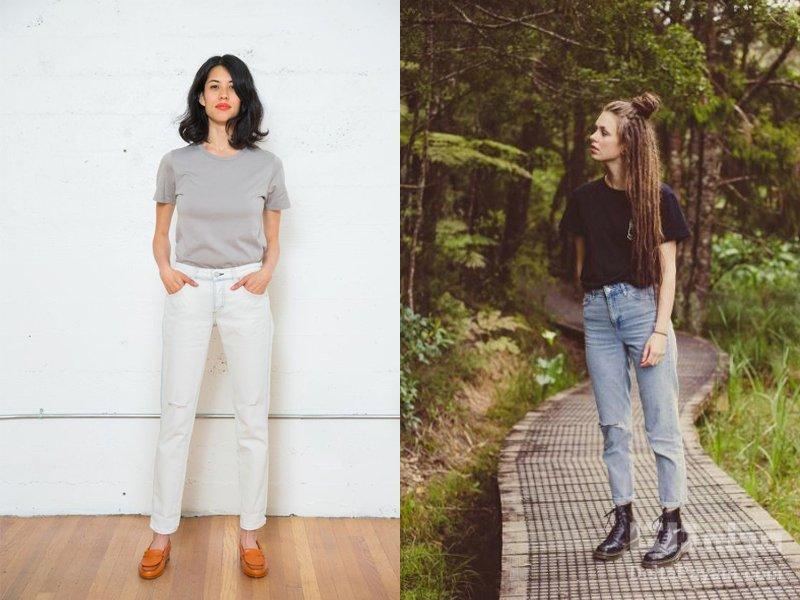 شلوار جین فاق بلند را چگونه بپوشیم تیشرت