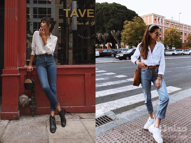شلوار جین فاق بلند را چگونه بپوشیم شومیز
