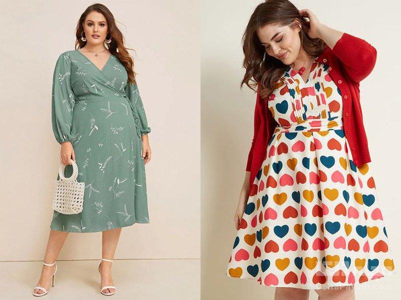 لباس مجلسی کوتاه برای خانم های چاق رنگی