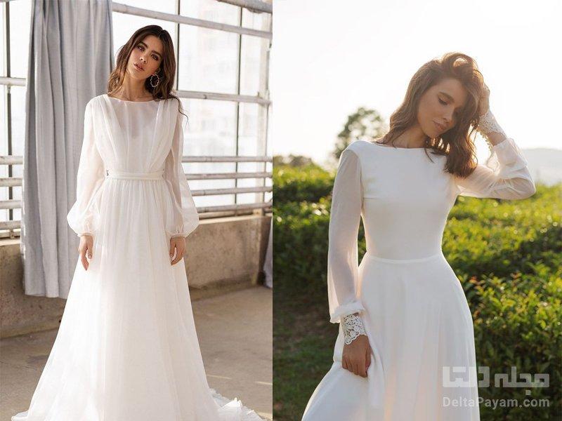 لباس عروسی آستین دار حریر