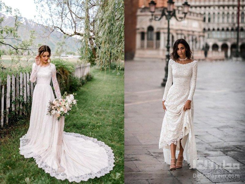 لباس عروسی آستین دار گیپور