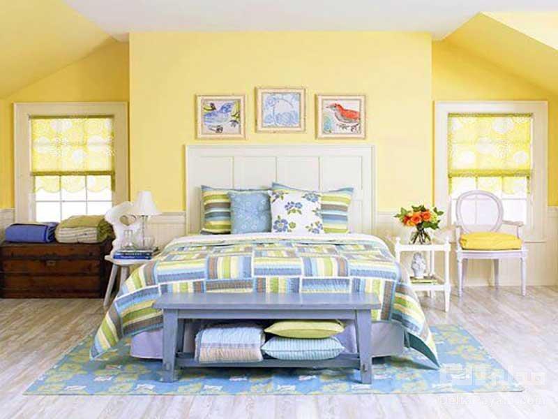 دکوراسیون اتاق خواب زرد رنگ