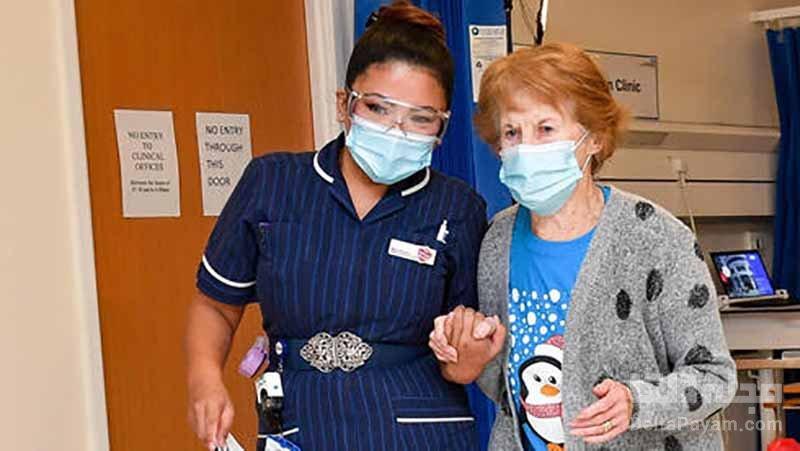واکسن فایزر به یک شهروند ۹۰ ساله انگلیسی تزریق شد