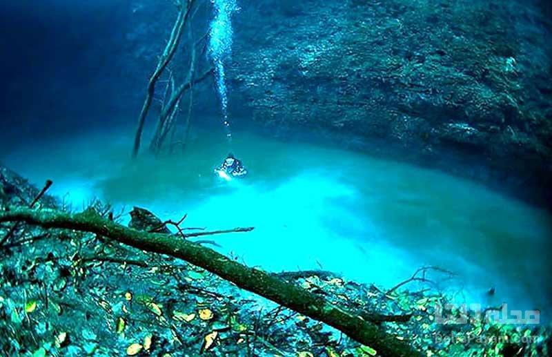 رودخانه زیر آب در غار سنوته آنجلیتا