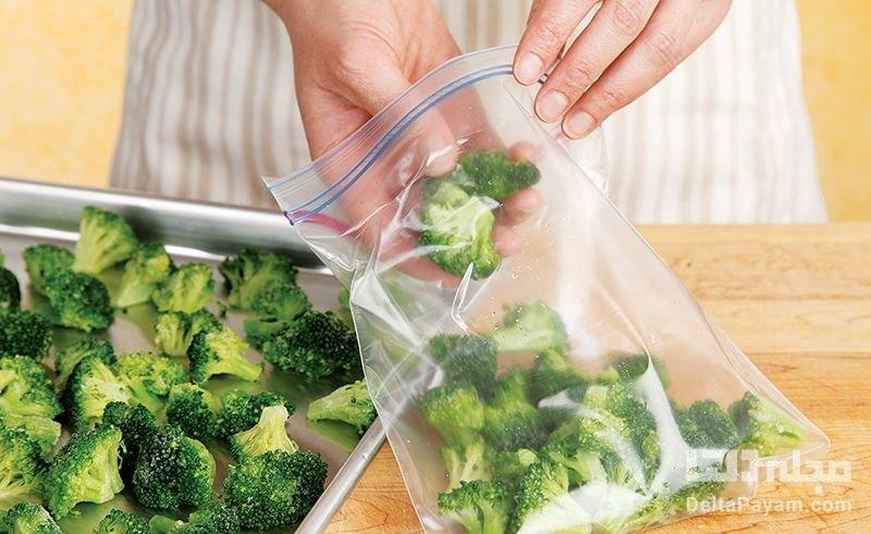 نگهداری سبزیجات و گوشت در فریزر