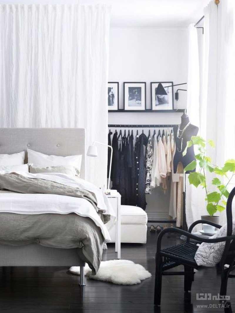 دکوراسیون اتاق خواب بدون کمد