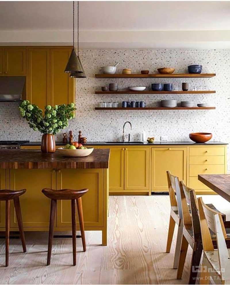 ترکیب رنگ خردلی در آشپزخانه
