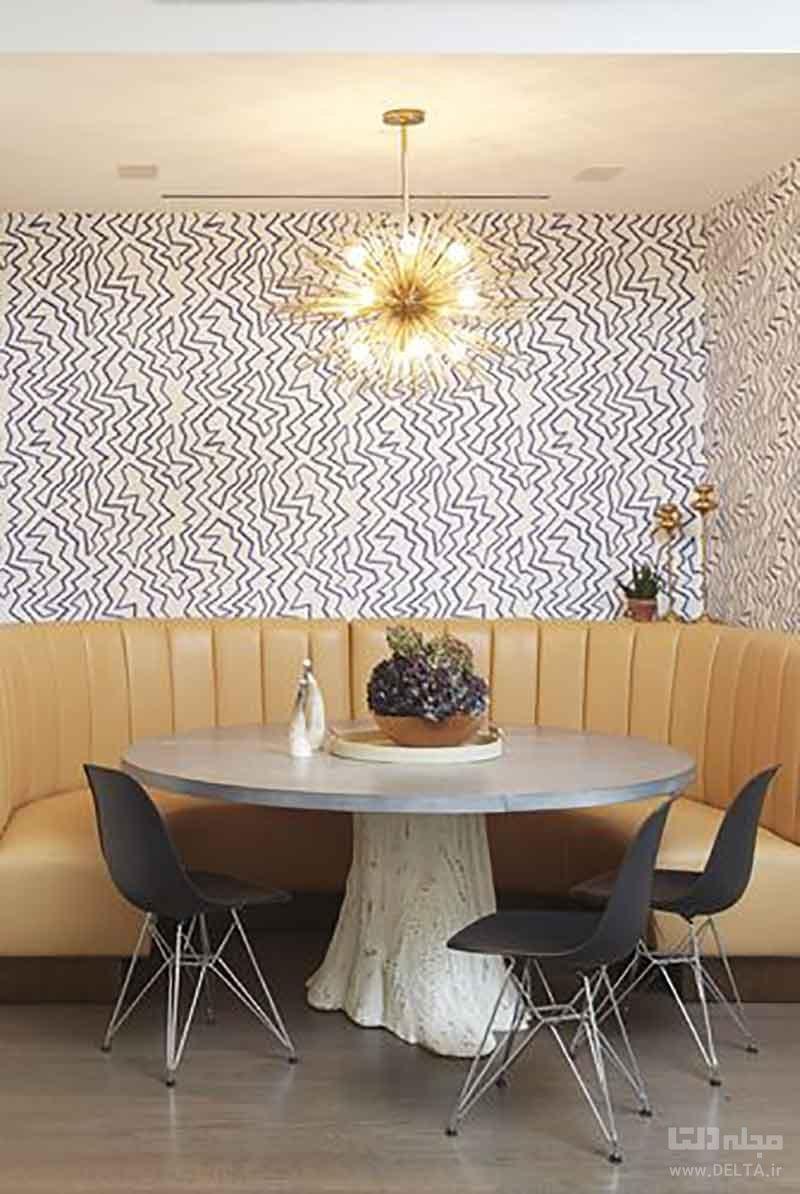 میز غذاخوری به همراه کاغذ دیواری جذاب