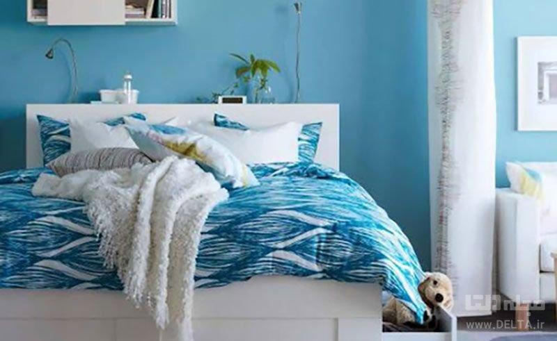 رنگ آبی در دکوراسیون اتاق خواب