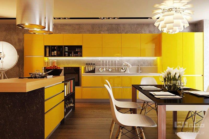 رنگ شاد در دکوراسیون آشپزخانه